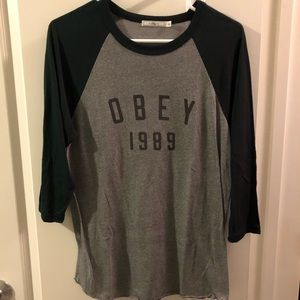 Obey dark green and gray 3/4 sleeve shirt